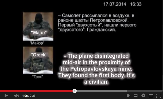 Rebels recorded conversation on downing of MH17