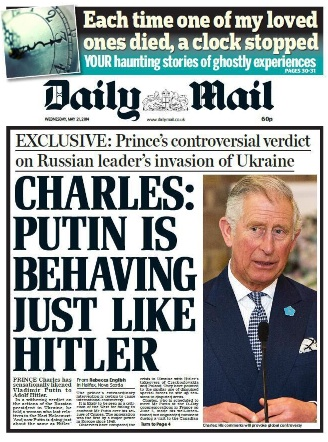 Image result for putin  hitler headline