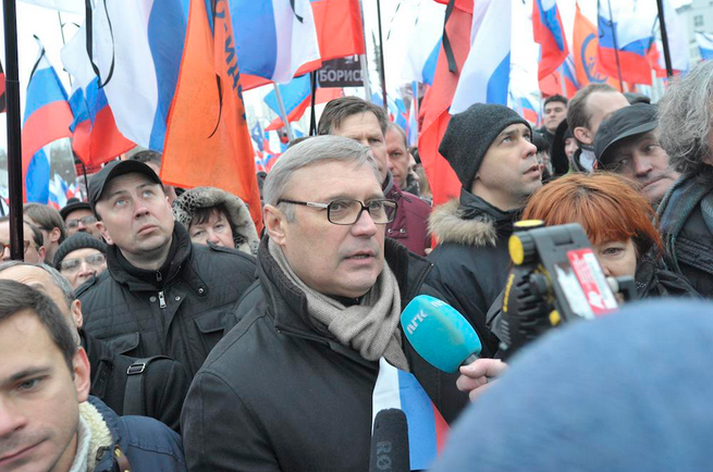 Mikhail Kasyanov at Nemtsov rally in Moscow
