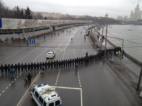 Large police presence at Nemtsov rally in Moscow on Sunday.